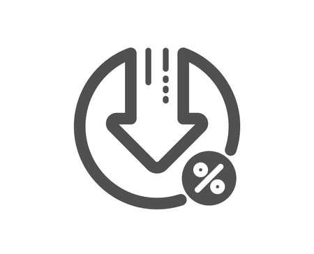Loan percent decrease icon. Discount sign. Credit percentage symbol. Quality design element. Classic style icon. Vector Stock fotó - 126673590
