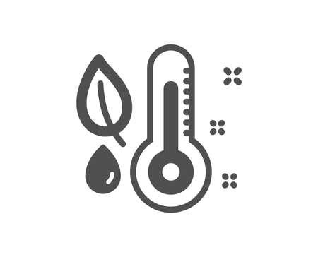 Thermometer-Symbol. Feuchtigkeit und Blattzeichen. Feuchtigkeitssymbol. Hochwertiges Gestaltungselement. Symbol im klassischen Stil. Vektor