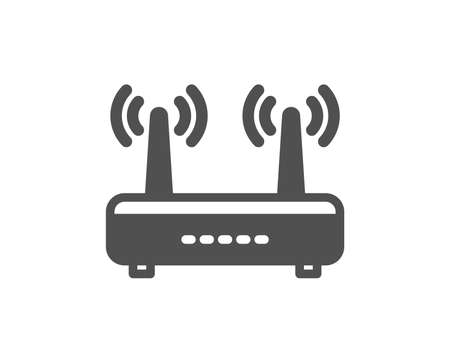 Wifi router icon. Computer component sign. Internet symbol. Quality design element. Classic style icon. Vector