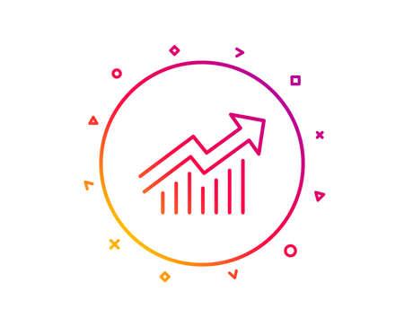 Chart line icon. Report graph or Sales growth sign. Analysis and Statistics data symbol. Gradient pattern line button. Demand curve icon design. Geometric shapes. Vector Illusztráció