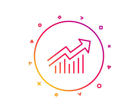 Chart line icon. Report graph or Sales growth sign. Analysis and Statistics data symbol. Gradient pattern line button. Demand curve icon design. Geometric shapes. Vector Illustration