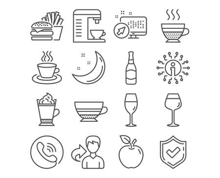 Set of Mocha, Tea cup and Wineglass icons. Latte coffee, Bordeaux glass and Burger signs. Coffee machine, Cafe creme and Beer bottle symbols. Burgundy glass, Hot drink with whipped cream, Cheeseburger Illustration