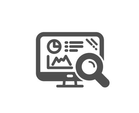 Seo statistics icon. Search engine sign. Analytics chart symbol. Quality design element. Classic style icon. Vector