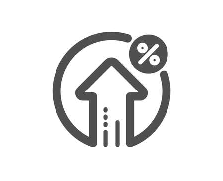 Loan percent growth icon. Discount sign. Credit percentage symbol. Quality design element. Classic style icon. Vector