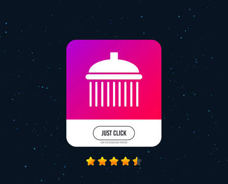 Shower sign icon. Douche with water drops symbol. Web or internet icon design. Rating stars. Just click button. Vector  イラスト・ベクター素材