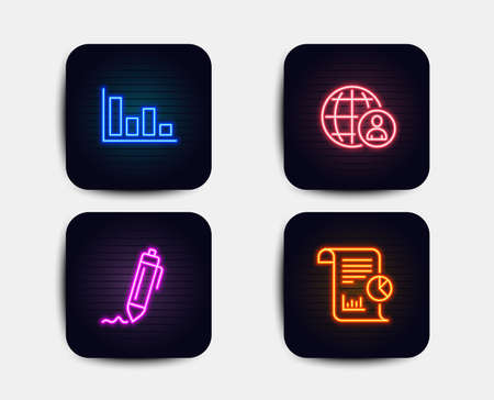 Neon glow lights. Set of Signature, International recruitment and Histogram icons. Report sign. Written pen, World business, Economic trend. Work analysis.  Neon icons. Glowing light banners. Vector