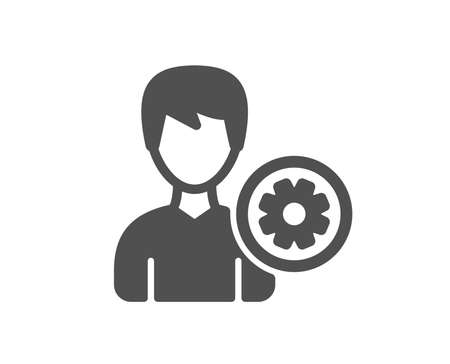 User settings icon. Profile Avatar with cogwheel sign. Male Person silhouette symbol. Quality design element. Classic style icon. Vector