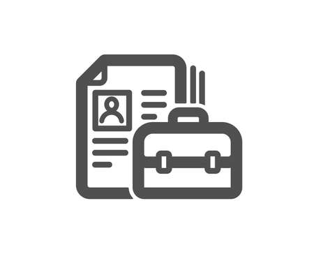 Business case with CV icon. Portfolio symbol. Vacancy or Hiring sign. Quality design element. Classic style icon. Vector Standard-Bild - 126673641