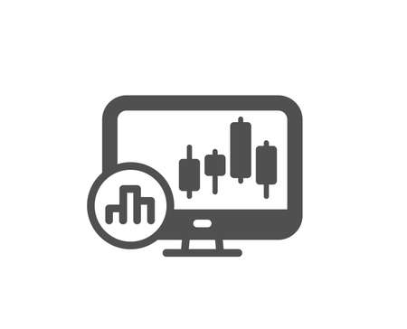 Candlestick chart icon. Analytics graph sign. Market analytics symbol. Quality design element. Classic style icon. Vector
