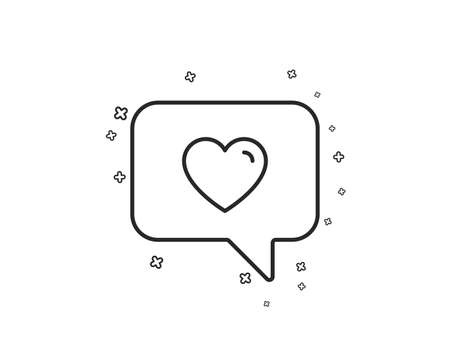 Heart in Speech bubble line icon. Love chat symbol. Valentines day communication sign. Geometric shapes. Random cross elements. Linear Love message icon design. Vector Иллюстрация