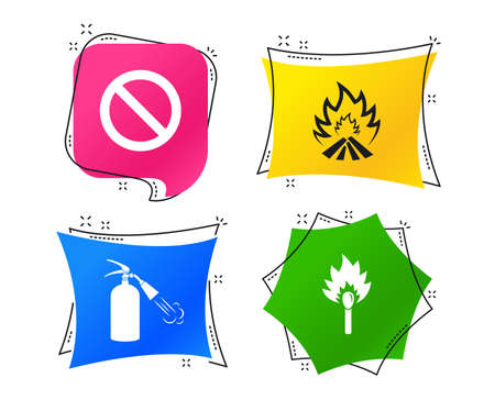 Fire flame icons. Fire extinguisher sign. Prohibition stop symbol. Burning matchstick. Geometric colorful tags. Banners with flat icons. Trendy design. Vector