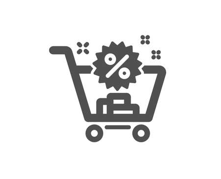 Shopping cart icon. Sale discounts sign. Clearance symbol. Quality design element. Classic style icon. Vector  イラスト・ベクター素材
