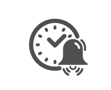 Alarm bell icon. Time or watch sign. Quality design element. Classic style icon. Vector