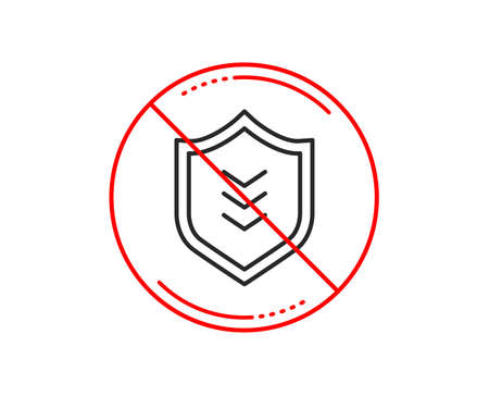No or stop sign. Shield line icon. Protection symbol. Business security sign. Caution prohibited ban stop symbol. No  icon design.  Vector Illustration