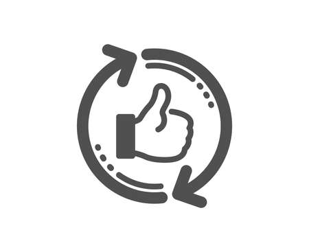 Refresh like icon. Thumbs up sign. Positive feedback symbol. Quality design element. Classic style icon. Vector Çizim
