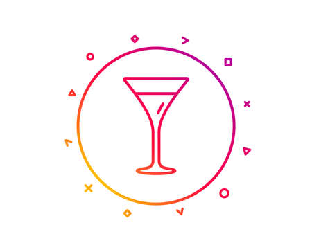 Martini glass line icon. Wine glass sign. Gradient pattern line button. Martini glass icon design. Geometric shapes. Vector Illustration