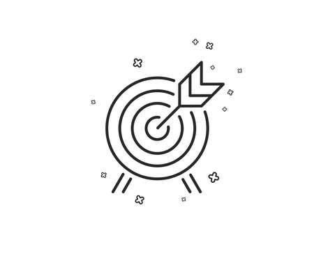 Icono de línea de tiro con arco. Señal de atracción del parque de atracciones. Formas geométricas. Elementos cruzados aleatorios. Diseño de icono de tiro con arco lineal. Vector Ilustración de vector