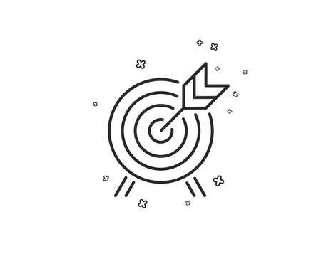 Archery line icon. Amusement park attraction sign. Geometric shapes. Random cross elements. Linear Archery icon design. Vector