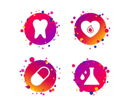 Maternity icons. Pill, tooth, chemistry and heart signs. Blood donation symbol. Lab bulb with drops. Dental care. Gradient circle buttons with icons. Random dots design. Vector Standard-Bild - 114240366