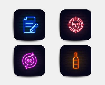 Neon glow lights. Set of Face detect, Money currency and Article icons. Wine bottle sign. Select target, Cash change, Feedback. Cabernet sauvignon.  Neon icons. Glowing light banners. Vector