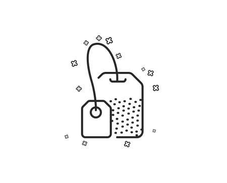 Tea bag line icon. Brew hot drink sign. Breakfast beverage symbol. Geometric shapes. Random cross elements. Linear Tea bag icon design. Vector Çizim