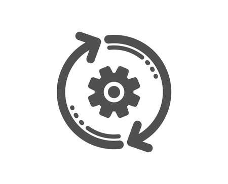 Icono de rueda dentada. Signo de herramienta de ingeniería. Engranaje de engranaje, símbolo de configuración de actualización. Elemento de diseño de calidad. Icono de estilo clásico. Vector Ilustración de vector
