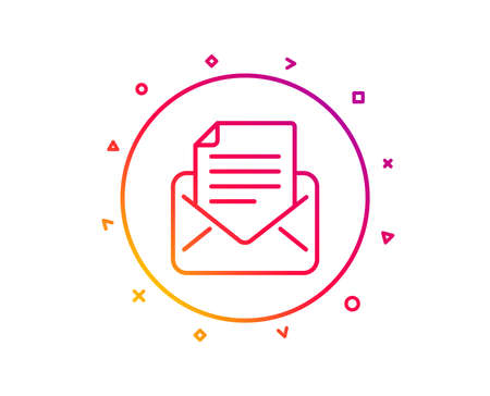 Mail correspondence line icon. Read Message sign. E-mail symbol. Gradient pattern line button. Mail correspondence icon design. Geometric shapes. Vector Illustration