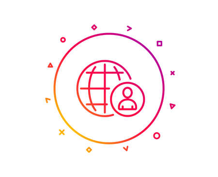 International business recruitment line icon. Global human resources sign. Gradient pattern line button. International recruitment icon design. Geometric shapes. Vector