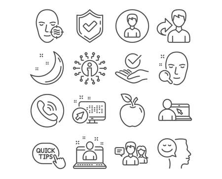 Set of Person, Online education and Quick tips icons. Problem skin, Best manager and Good mood signs. Face search, Approved and People talking symbols. Edit profile, Internet lectures, Helpful tricks Çizim