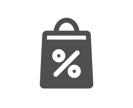 Shopping bag with Percentage icon. Supermarket buying sign. Sale and Discounts symbol. Quality design element. Classic style icon. Vector Illustration