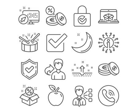 Set of Sale, Checkbox and Clean skin icons. Savings, Password encryption and Currency exchange signs. Online delivery, Drums and Third party symbols. Discount, Approved tick, Cosmetics. Vector
