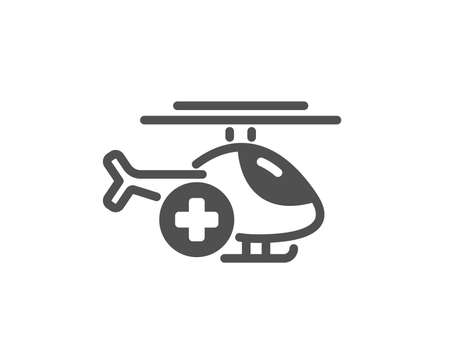 Medical helicopter icon. Emergency sky transport sign. Quality design element. Classic style icon. Vector