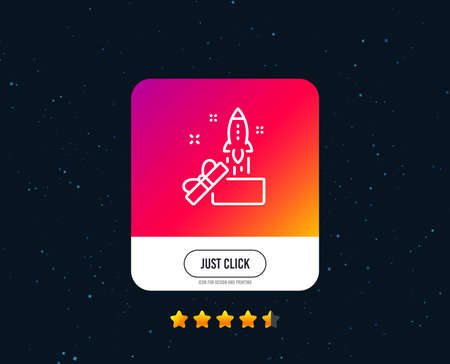 Out of the box line icon. Launch Project sign. Startup symbol. Web or internet line icon design. Rating stars. Just click button. Vector