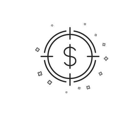 Target with Dollar line icon. Aim symbol. Cash or Money sign. Geometric shapes. Random cross elements. Linear Dollar Target icon design. Vector 向量圖像