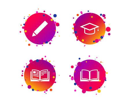 Pencil and open book icons. Graduation cap symbol. Higher education learn signs. Gradient circle buttons with icons. Random dots design. Vector