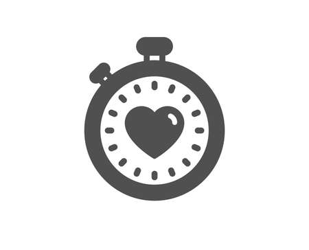Heart in Timer icon. Love symbol. Valentines day stopwatch sign. Quality design element. Classic style icon. Vector