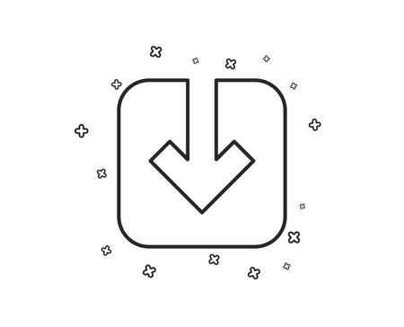 Load document line icon. Download arrowhead symbol. Direction or pointer sign. Geometric shapes. Random cross elements. Linear Load document icon design. Vector  イラスト・ベクター素材