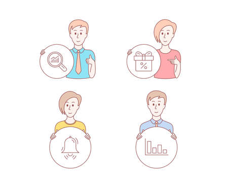 People hand drawn style. Set of Discount offer, Data analysis and Clock bell icons. Histogram sign. Gift box, Magnifying glass, Alarm. Economic trend.  Character hold circle button. Man with like hand