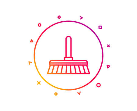 Cleaning mop line icon. Sweep or Wash a floor symbol. Washing Housekeeping equipment sign. Gradient pattern line button. Cleaning mop icon design. Geometric shapes. Vector