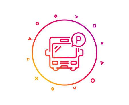 Bus parking line icon. Auto park sign. Transport place symbol. Gradient pattern line button. Bus parking icon design. Geometric shapes. Vector Ilustração
