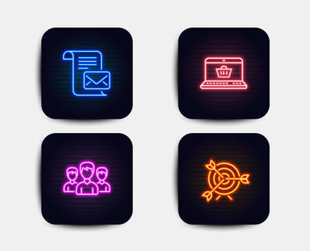 Neon set of Mail letter, Group and Online shopping icons. Target sign. Read e-mail, Group of people, Notebook with shopping cart. Targeting. Neon icons. Glowing light banners. Vector Banque d'images - 126675328