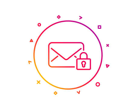 Secure Mail line icon. Private Message correspondence sign. E-mail symbol. Gradient pattern line button. Secure Mail icon design. Geometric shapes. Vector