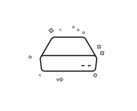 Mini pc line icon. Small computer device sign. Geometric shapes. Random cross elements. Linear Mini pc icon design. Vector