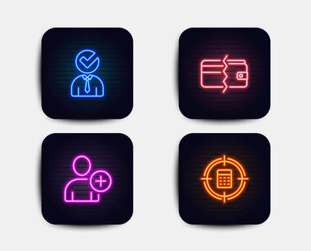 Neon glow lights. Set of Payment methods, Vacancy and Add user icons. Calculator target sign. Wallet cash, Businessman concept, Profile settings. Audit.  Neon icons. Glowing light banners. Vector Illustration