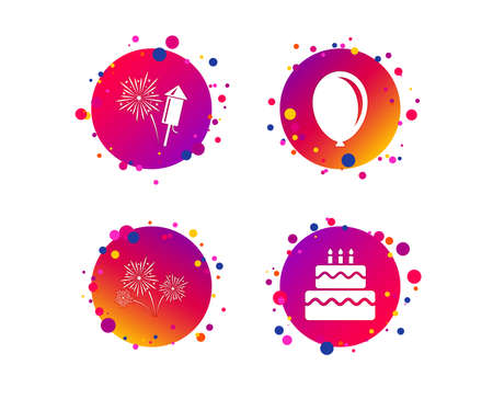 Birthday party icons. Cake and gift box signs. Air balloon and fireworks symbol. Gradient circle buttons with icons. Random dots design. Vector