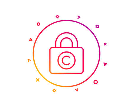 Copyright locker line icon. Copywriting sign. Private Information symbol. Gradient pattern line button. Copyright locker icon design. Geometric shapes. Vector Illusztráció