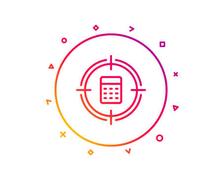 Calculator in target line icon. Accounting or Audit sign. Calculate finance symbol. Gradient pattern line button. Calculator target icon design. Geometric shapes. Vector