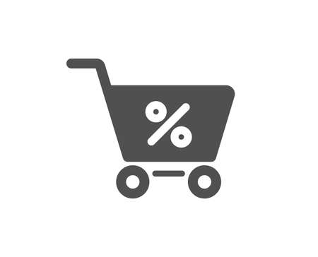 Shopping cart with Percentage icon. Online buying sign. Supermarket basket symbol. Quality design element. Classic style icon. Vector Illustration
