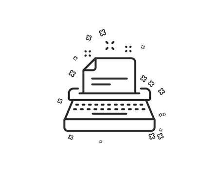 Typewriter line icon. Documentation sign. Geometric shapes. Random cross elements. Linear Typewriter icon design. Vector