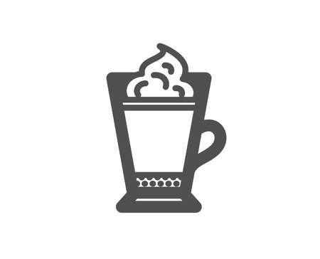 Latte coffee with Whipped cream icon. Hot drink sign. Beverage symbol. Quality design element. Classic style icon. Vector Illustration